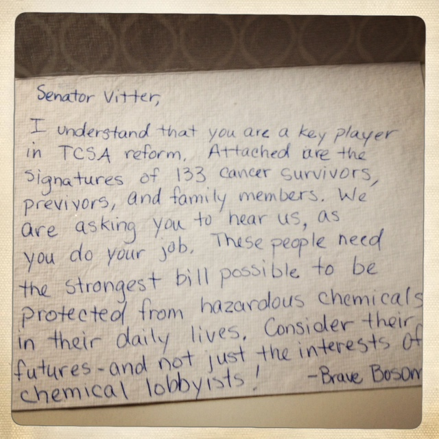 Letter to Senator Vitter